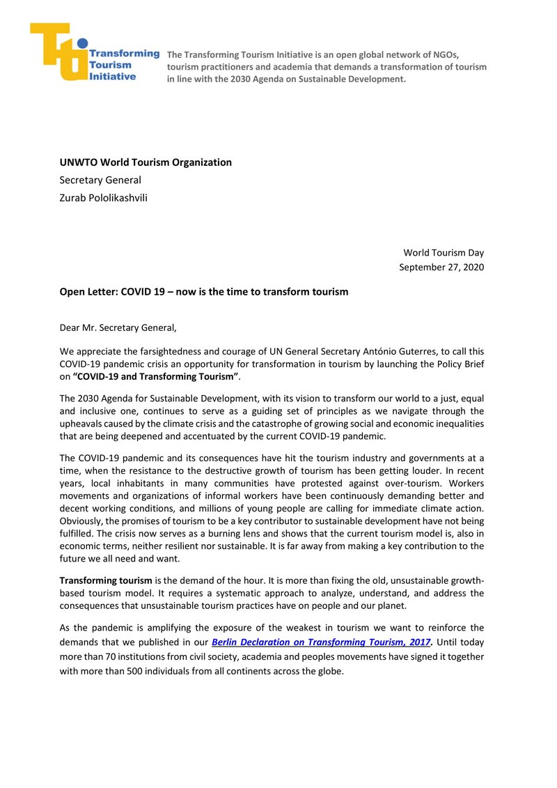 Transforming Tourism Initiative's open letter to UNWTO
